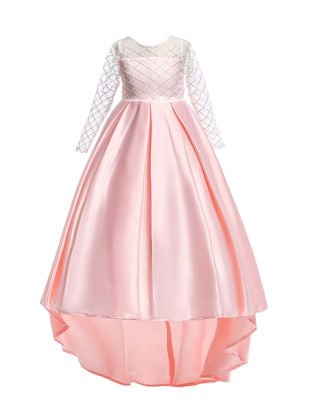 Picture of Toddlers Girl's Dress O Neck High Low Hem Lace Patch Aline Dress - Size: Reference Height:130cm