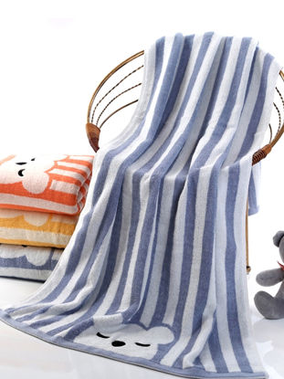Picture of 1 Pc Bath Towel Thickened Cartoon Pattern Striped Comfy Children's Shower Towe - Size: 70*140(W*L)cm
