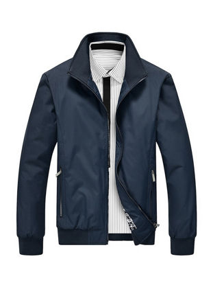 Picture of Men's Casual Jacket Turn Down Collar Long Sleeve Zipper Decor Stylish Plus Size Jacket - Size: L