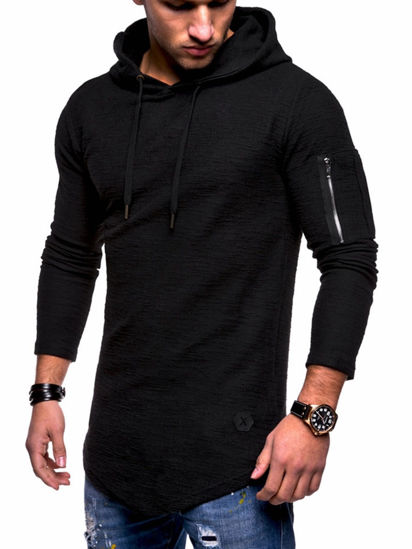 Picture of Men's Hoodie Long Sleeve Solid Color Zipper Decor Slim Hoodie - Size: XXL