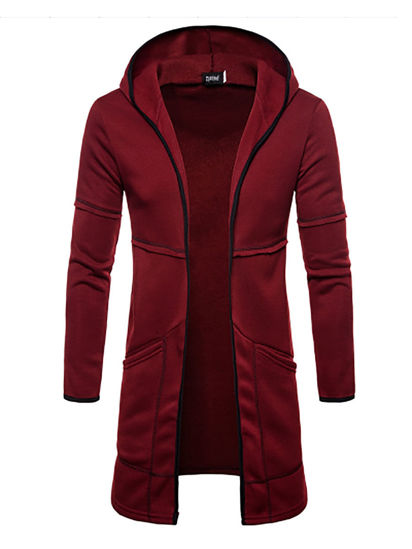 Picture of Men's Casual Jacket Hooded Long Sleeve Zipper Decor Pocketed Jacket - Size: XL