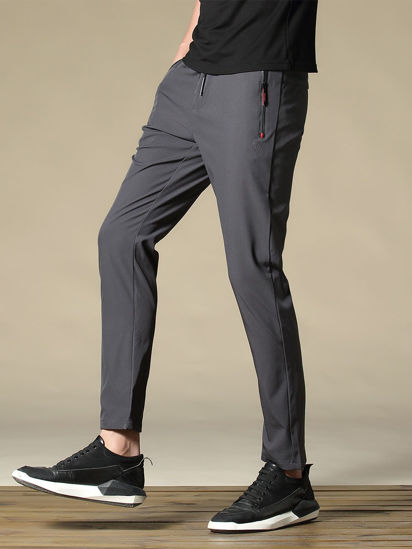 Picture of Men's Casual Pants Solid Color Drawstring Waist Straight Pants - Size: M