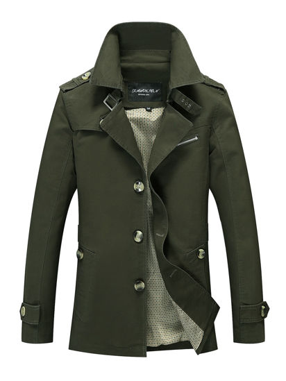 Picture of Men's Trench Coat Long Sleeve Solid Color Slim Business Coat - Size: M