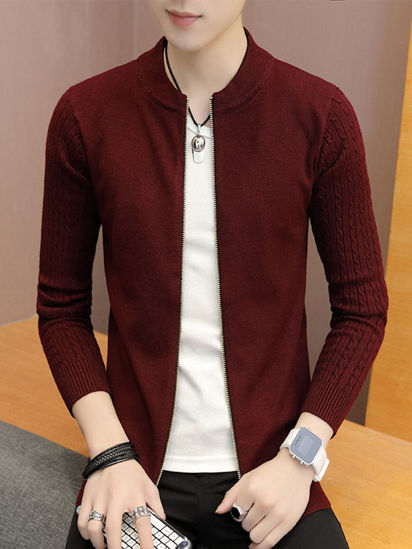 Picture of Men's Cardigan Solid Color Long Sleeve Zipper Decor Slim Knitwear - Size: L