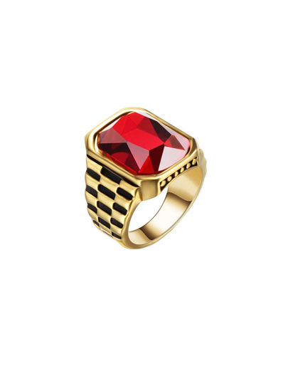 Picture of Men's Ring Stone Inlay Vintage Chic Jewelry Accessory - Size: 7