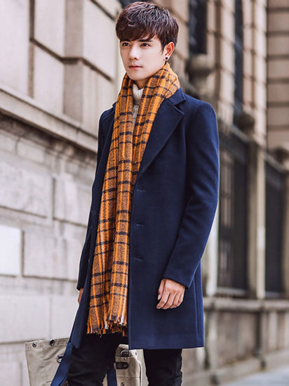 Picture of Men's Wool Blends Coat Slim Fashion Solid Color Notched Collar Coat - Size: 4XL