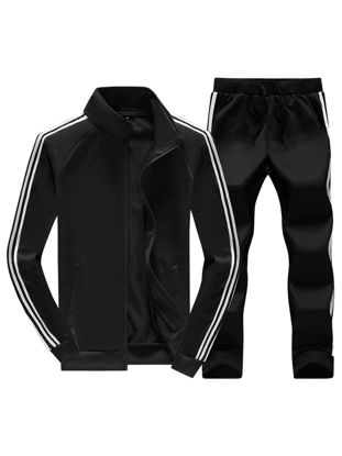 Picture of Men's 2 Pcs Pants Set Stand Collar Long Sleeve Casual Jacket Striped Pattern Pants Set - Size: M