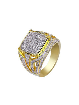 Picture of Men's Ring Rhinestone Inlay Hollow Out Design Ring Accessory - Size: 7