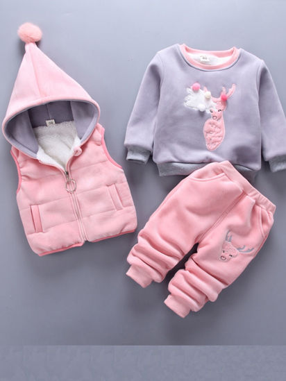 Picture of Toddlers 3 Pcs Baby's Set Trendy Sleeveless Hooded Vest O Neck Thicken Long Sleeve Top Long Pants Set - Size: 80cm