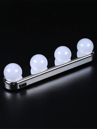 Picture of 1Pc 4 Led Bulbs Mirror Light Suction Cup Vanity Light Battery Powered Wall Lamp