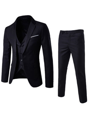 Picture of Men's 3Pcs Solid Color Business Vest Slim Blazer Suit Pants - Size: M