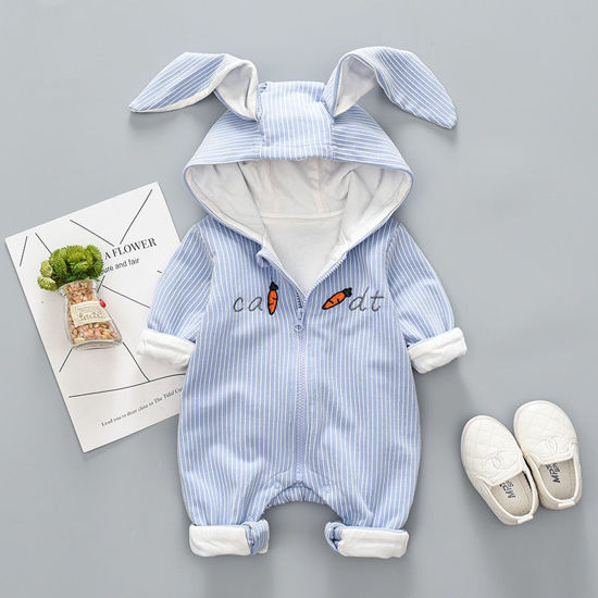 Picture of Baby Baby's Bodysuit Hooded Cartoon Designed Cute Bodysuit - Size: 73cm
