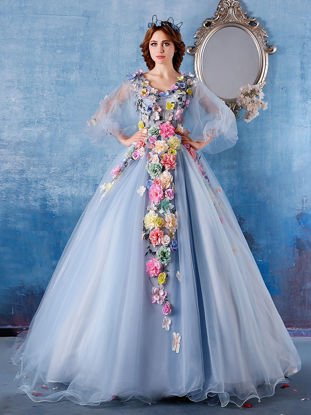 Picture of [Custom-Made]Women's Wedding Dress V Neck Flowers Flare Sleeve Wedding Dress - Size: XXL