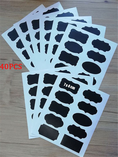 Picture of 36 Pcs Blackboard Stickers Multi-Functional Waterproof Kitchen Jar Organizer Labels