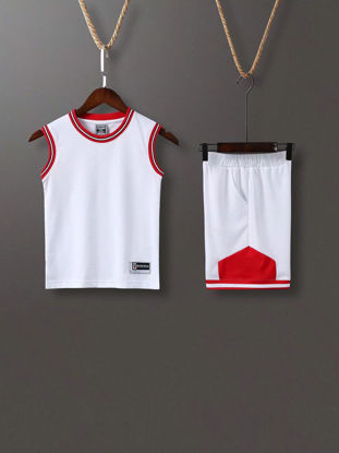 Picture of Kid's 2Pcs Training Set Color Block Tank Cozy Football Shorts Set - Size: 160cm