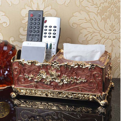 Picture of Multi-function Storage Box Tissue Box Gold-plated Upscale European Home Storage Box - Size: One Size