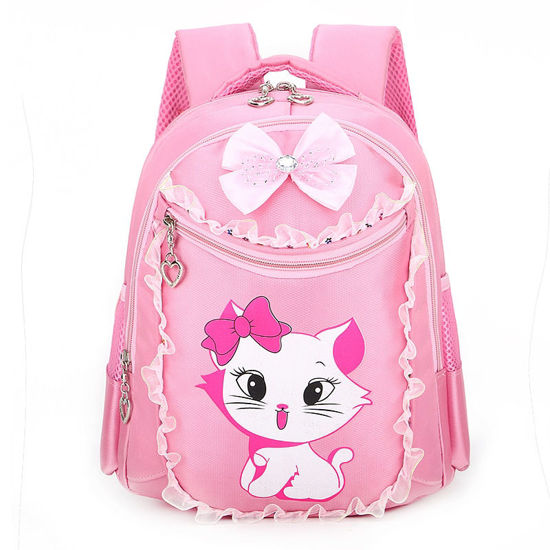 Picture of Girl's Backpack Lace Bow Zipper Closure Large Capacity Cartoon Pattern Bag - Size: One Size