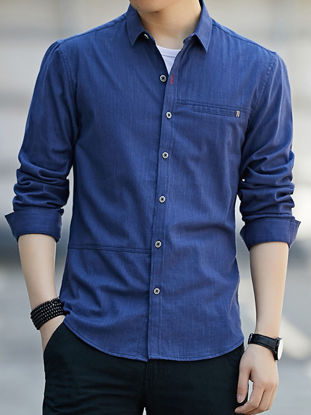 Picture of Men's Shirt Solid Color Long Sleeve Turn Down Collar Top - Size: M