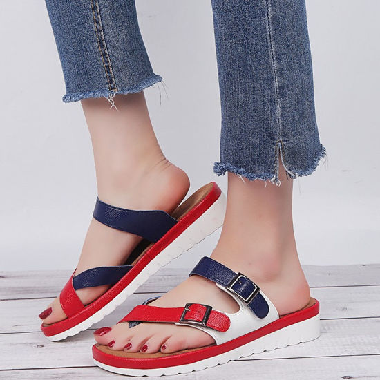 Picture of Women's Open Toe Slippers Color Block Strappy Trendy Shoes - Size: 43
