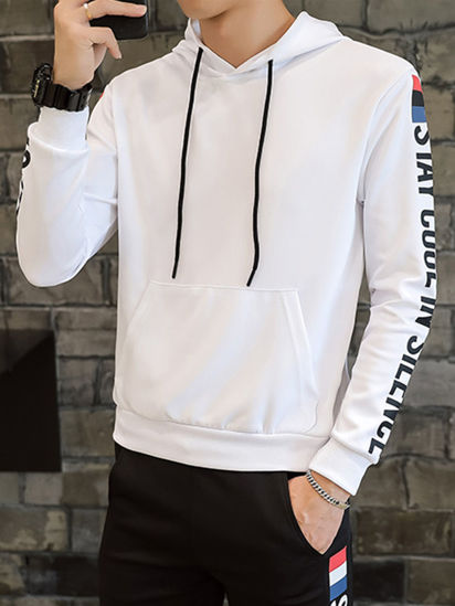 Picture of Men's 2Pcs Sets Simple Hooded Long Sleeve Hoodie Letter Print Sports Pants Sets - Size: 3XL