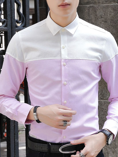 Picture of Men's Shirt Plus Size Long Sleeve Turn Down Collar Color Block Top - Size: L