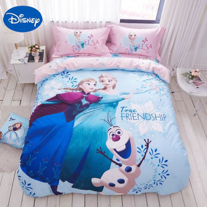 Picture of Disney 3/4 Pieces Kid's Duvet Cover Set Anna And Elsa Girls Comfy Beddings- Size: 1#8m Bed