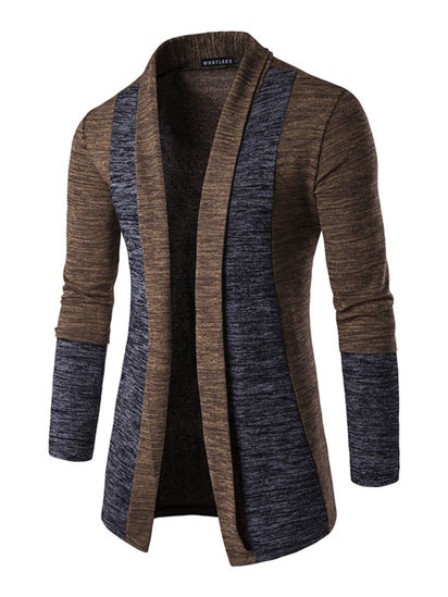 Picture of Men's Cardigan Fashion Patchwork Color Comfortable Casual Knitwear- Size: L