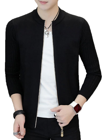 Picture of Men's Cardigan Solid Color Long Sleeve Zipper Decor Slim Knitwear- Size: L