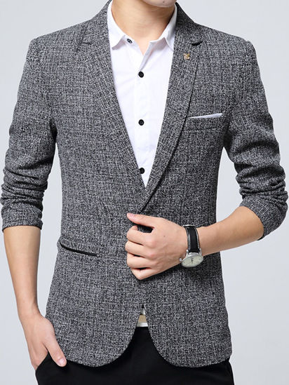 Picture of Men's Blazer Casual Solid Color Long Sleeve Blazer- Size: L