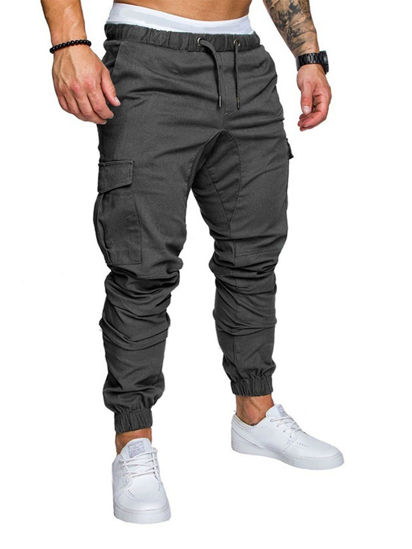 صورة Men's Casual Pants Top Fashion Sports Style Elastic Waist Solid Color Pants- Size: XL