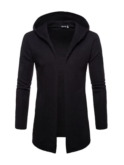 Picture of Men's Casual Jacket Hooded Long Sleeve Solid Color Jacket- Size: L