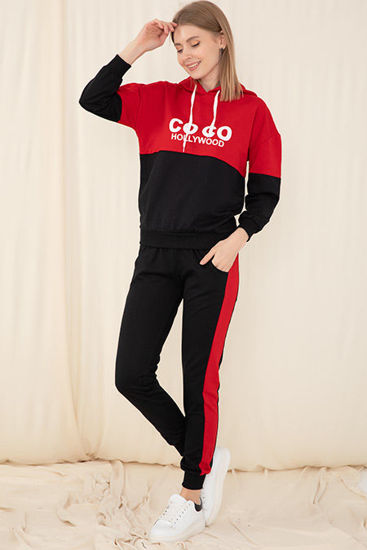 Picture of hooded printed tracksuit set