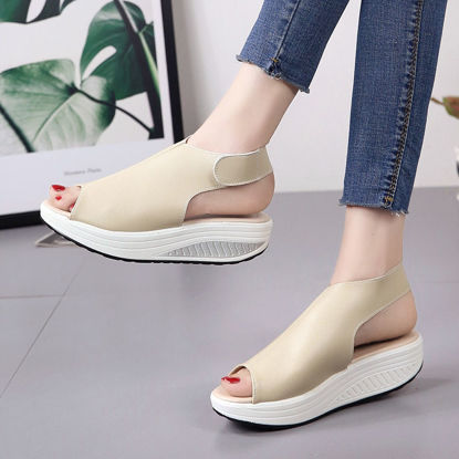 Picture of Women's Wedge Sandals Solid Color Comfortable Peep Toe Shoes - Size: 36