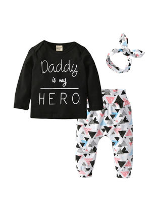 Picture of 3 Pcs Baby Girl's Pants Set Daddy is my Hero Long Sleeve T-shirt Casual Geometric Pants And Headband - Size: 90cm