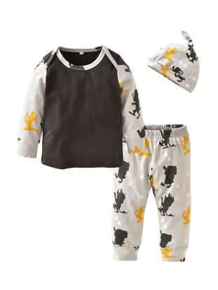 Picture of 3Pcs Baby's Pants Set Casual Long Sleeve Cartoon Monster Patchwork T shirt Pants And Hat Baby Set - Size: 60cm