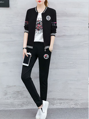 صورة Women's 3Pcs Sport Set Floral Bomber Jacket Cozy T-shirt Breathable Pants Set - Size: XL