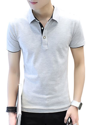 Picture of Zhuowolves Men's Solid Short Sleeve Polo Shirt Fashion All Match Top - Size: 4XL