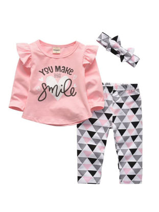 Picture of Baby Girl's 3 Pcs Set Long Sleeve Letter You Make Me Smile Top Headband Pants Comfy Set - Size: 90cm
