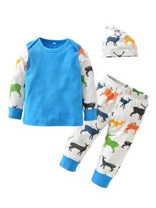 Picture of 3Pcs Baby's Clothing Set Long Sleeves Fashion Color Deer Patchwork Top Pants Hat Casual Set - Size: 70cm