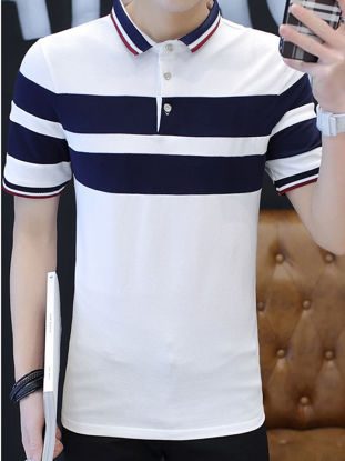 Picture of Men's Polo Shirt Color Block Striped All Match Fashion Top - Size: 3XL