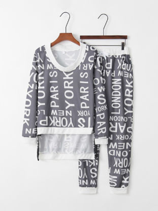 صورة Women's 2Pcs Sports Suit Fashion V Neck Long Sleeve Letter Pattern Comfy Pants Set - Size: XL