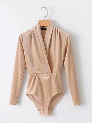 Picture of Women's Playsuits Solid Color V Neck Long Sleeve Playsuits - Size: L