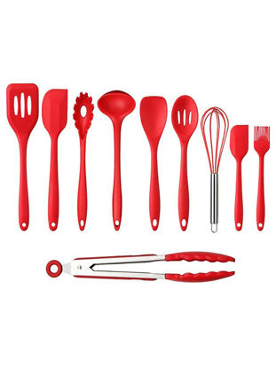 Picture of 10 Pcs Cooking Utensil Set Ecofriendly Safety Red Cooking Tools Set