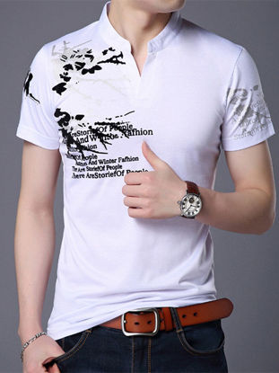 Picture of Men's Polo Shirt Stand Collar Print Short Sleeve Polo Shirt- Size: XL