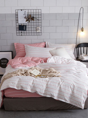 Picture of 4 Pcs Bedding Set Simple Style  Brief Stripe Pattern Soft Cozy Sheet Set- Size: 2#0m Bed