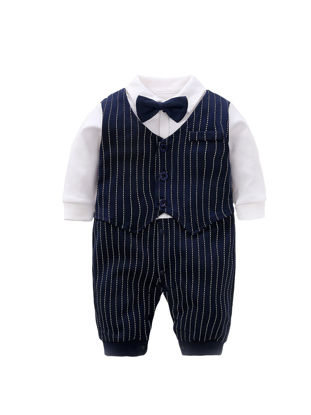 Picture of Baby Boy Bodysuit Bow Knot Turn Down Collar Long Sleeve Fake Vest Gentry Jumpsuit- Size: 66cm