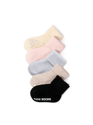 Picture of 5 Pairs Baby's Socks Solid Color Comfy Breathable Sock- Size: Free