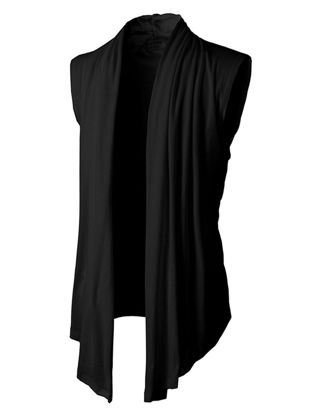 صورة Men's Cardigan Sleeveless Turn Down Collar Solid Color All Match Top- Size: M