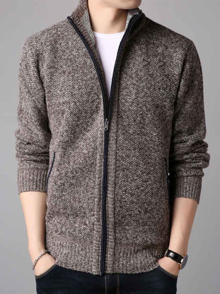 صورة Men's Cardigan Casual Long Sleeve Hooded Zipper Knitwear- Size: XXL