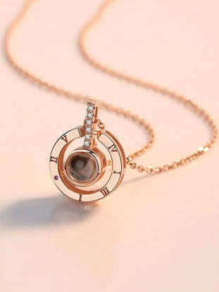 Picture of Women's Fashion Necklace Round Shape Projection Pendant Creative Necklet Accessory- Size: One Size